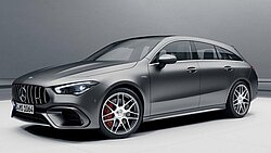 Der Mercedes-AMG CLA 45 S Shooting Brake in designo mountaingrau magno