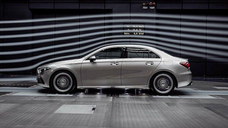 Die Mercedes-Benz A-Klasse Limousine im Windtunnel