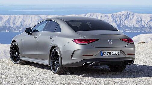 Die Seit- und Heckansicht des Mercedes-Benz CLS Coupé